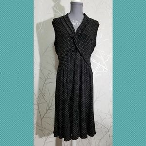 Joseph Ribkoff Black Dotted Flowy Midi Dress